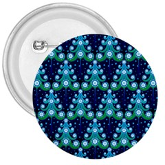 Christmas Tree Snow Green Blue 3  Buttons