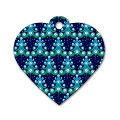 Christmas Tree Snow Green Blue Dog Tag Heart (Two Sides)