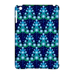 Christmas Tree Snow Green Blue Apple iPad Mini Hardshell Case (Compatible with Smart Cover)