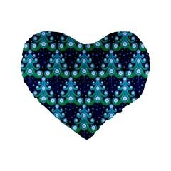 Christmas Tree Snow Green Blue Standard 16  Premium Heart Shape Cushions