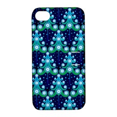 Christmas Tree Snow Green Blue Apple iPhone 4/4S Hardshell Case with Stand