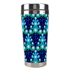 Christmas Tree Snow Green Blue Stainless Steel Travel Tumblers