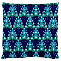 Christmas Tree Snow Green Blue Large Flano Cushion Case (one Side)
