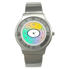 Illustrated Circle Round Polka Rainbow Stainless Steel Watch