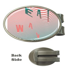 Heat Wave Chevron Waves Red Green Money Clips (Oval)