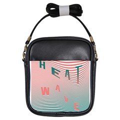 Heat Wave Chevron Waves Red Green Girls Sling Bags