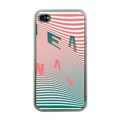 Heat Wave Chevron Waves Red Green Apple iPhone 4 Case (Clear)