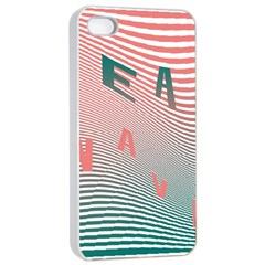 Heat Wave Chevron Waves Red Green Apple iPhone 4/4s Seamless Case (White)