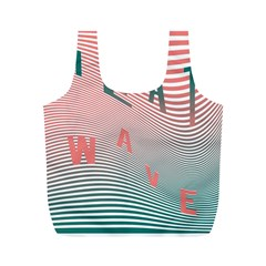 Heat Wave Chevron Waves Red Green Full Print Recycle Bags (M)
