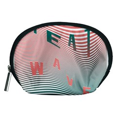 Heat Wave Chevron Waves Red Green Accessory Pouches (Medium)