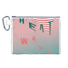 Heat Wave Chevron Waves Red Green Canvas Cosmetic Bag (L)