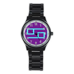Illustrated Position Purple Blue Star Zodiac Stainless Steel Round Watch