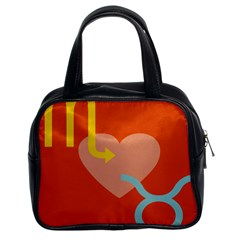 Illustrated Zodiac Love Heart Orange Yellow Blue Classic Handbags (2 Sides)