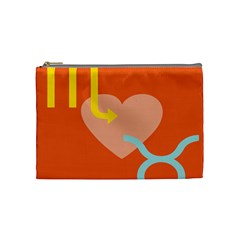 Illustrated Zodiac Love Heart Orange Yellow Blue Cosmetic Bag (Medium)