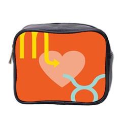 Illustrated Zodiac Love Heart Orange Yellow Blue Mini Toiletries Bag 2-Side