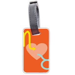 Illustrated Zodiac Love Heart Orange Yellow Blue Luggage Tags (Two Sides)