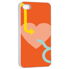 Illustrated Zodiac Love Heart Orange Yellow Blue Apple iPhone 4/4s Seamless Case (White)