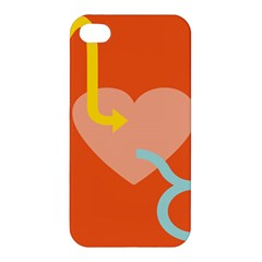 Illustrated Zodiac Love Heart Orange Yellow Blue Apple iPhone 4/4S Hardshell Case