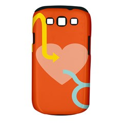 Illustrated Zodiac Love Heart Orange Yellow Blue Samsung Galaxy S III Classic Hardshell Case (PC+Silicone)
