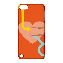 Illustrated Zodiac Love Heart Orange Yellow Blue Apple iPod Touch 5 Hardshell Case with Stand