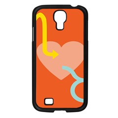 Illustrated Zodiac Love Heart Orange Yellow Blue Samsung Galaxy S4 I9500/ I9505 Case (black)