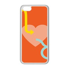 Illustrated Zodiac Love Heart Orange Yellow Blue Apple iPhone 5C Seamless Case (White)