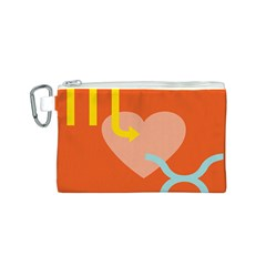 Illustrated Zodiac Love Heart Orange Yellow Blue Canvas Cosmetic Bag (S)