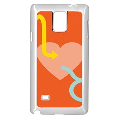 Illustrated Zodiac Love Heart Orange Yellow Blue Samsung Galaxy Note 4 Case (White)