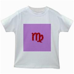 Illustrated Zodiac Purple Red Star Polka Kids White T-Shirts