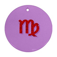 Illustrated Zodiac Purple Red Star Polka Round Ornament (Two Sides)