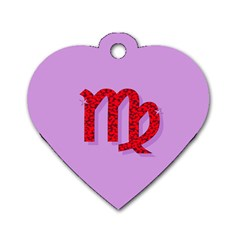 Illustrated Zodiac Purple Red Star Polka Dog Tag Heart (One Side)