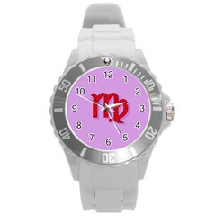 Illustrated Zodiac Purple Red Star Polka Round Plastic Sport Watch (L)