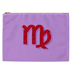 Illustrated Zodiac Purple Red Star Polka Cosmetic Bag (XXL)