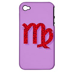 Illustrated Zodiac Purple Red Star Polka Apple iPhone 4/4S Hardshell Case (PC+Silicone)