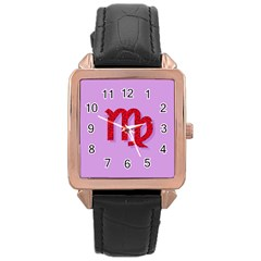 Illustrated Zodiac Purple Red Star Polka Rose Gold Leather Watch
