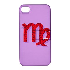 Illustrated Zodiac Purple Red Star Polka Apple iPhone 4/4S Hardshell Case with Stand