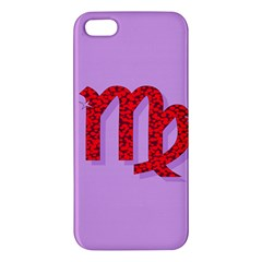 Illustrated Zodiac Purple Red Star Polka Apple iPhone 5 Premium Hardshell Case
