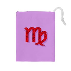 Illustrated Zodiac Purple Red Star Polka Drawstring Pouches (Large)