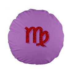 Illustrated Zodiac Purple Red Star Polka Standard 15  Premium Flano Round Cushions