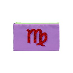 Illustrated Zodiac Purple Red Star Polka Cosmetic Bag (XS)