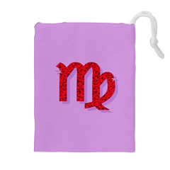 Illustrated Zodiac Purple Red Star Polka Drawstring Pouches (Extra Large)