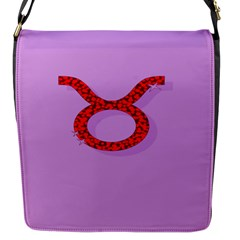 Illustrated Zodiac Purple Red Star Polka Circle Flap Messenger Bag (S)