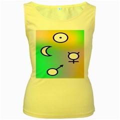 Illustrated Moon Circle Polka Dot Rainbow Women s Yellow Tank Top