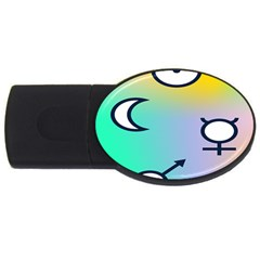 Illustrated Moon Circle Polka Dot Rainbow USB Flash Drive Oval (4 GB)
