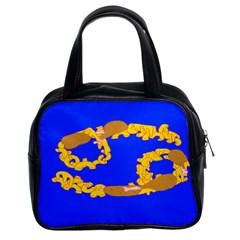 Illustrated 69 Blue Yellow Star Zodiac Classic Handbags (2 Sides)