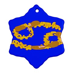 Illustrated 69 Blue Yellow Star Zodiac Ornament (Snowflake)