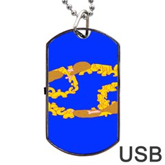 Illustrated 69 Blue Yellow Star Zodiac Dog Tag USB Flash (One Side)