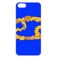 Illustrated 69 Blue Yellow Star Zodiac Apple iPhone 5 Seamless Case (White)