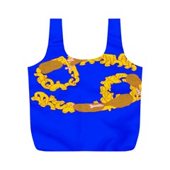 Illustrated 69 Blue Yellow Star Zodiac Full Print Recycle Bags (M)