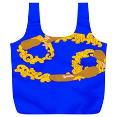 Illustrated 69 Blue Yellow Star Zodiac Full Print Recycle Bags (L)